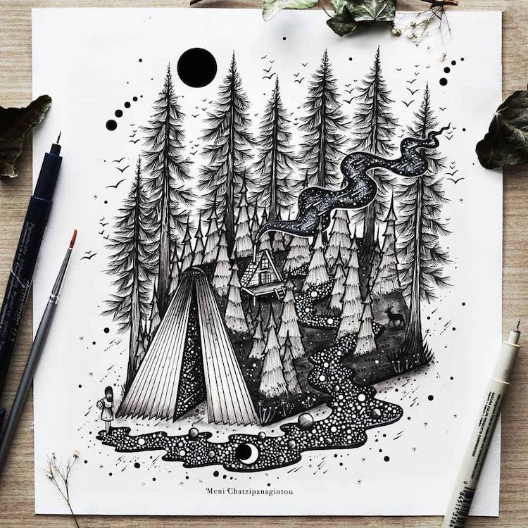 Des illustrations à l'encre en noir et blanc magnifiques 15