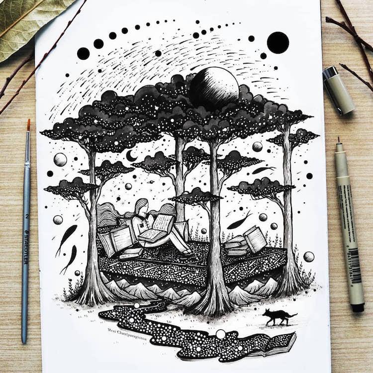 Des illustrations à l'encre en noir et blanc magnifiques 16
