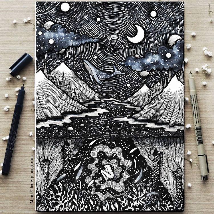 Des illustrations à l'encre en noir et blanc magnifiques 17