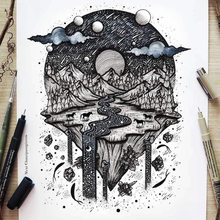 Des illustrations à l'encre en noir et blanc magnifiques 18