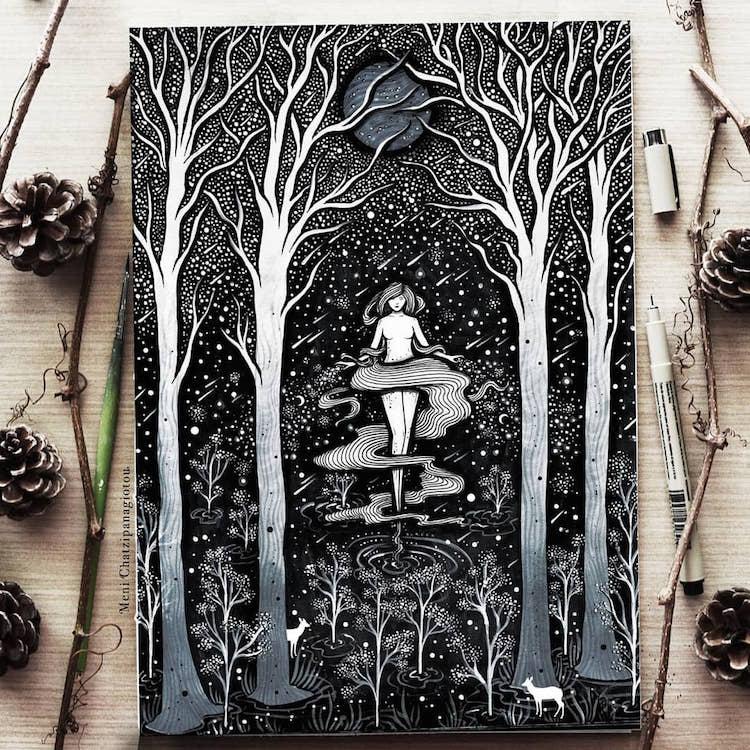 Des illustrations à l'encre en noir et blanc magnifiques 19