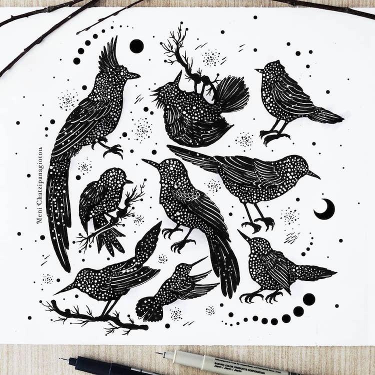 Des illustrations à l'encre en noir et blanc magnifiques 20