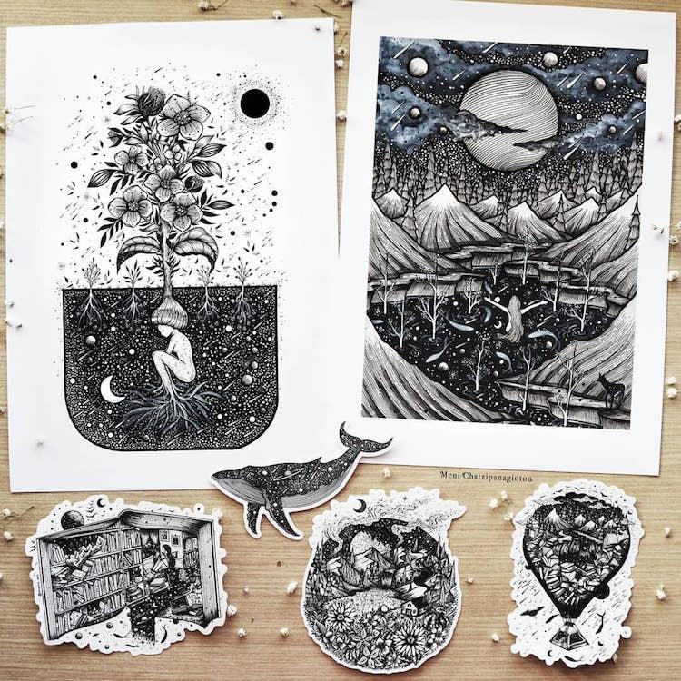Des illustrations à l'encre en noir et blanc magnifiques 21