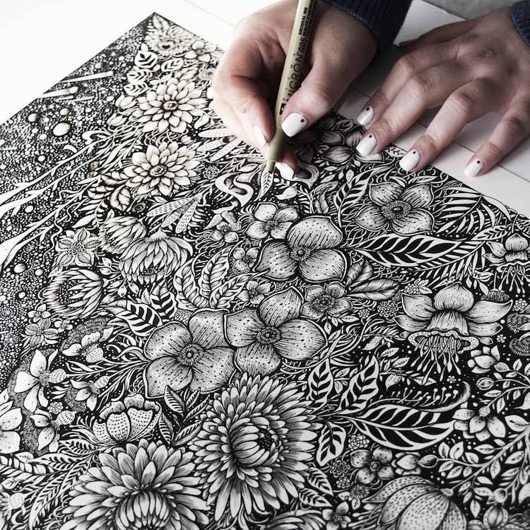 Des illustrations à l'encre en noir et blanc magnifiques 22