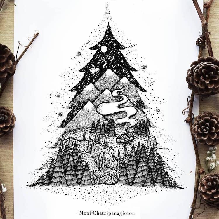 Des illustrations à l'encre en noir et blanc magnifiques 24