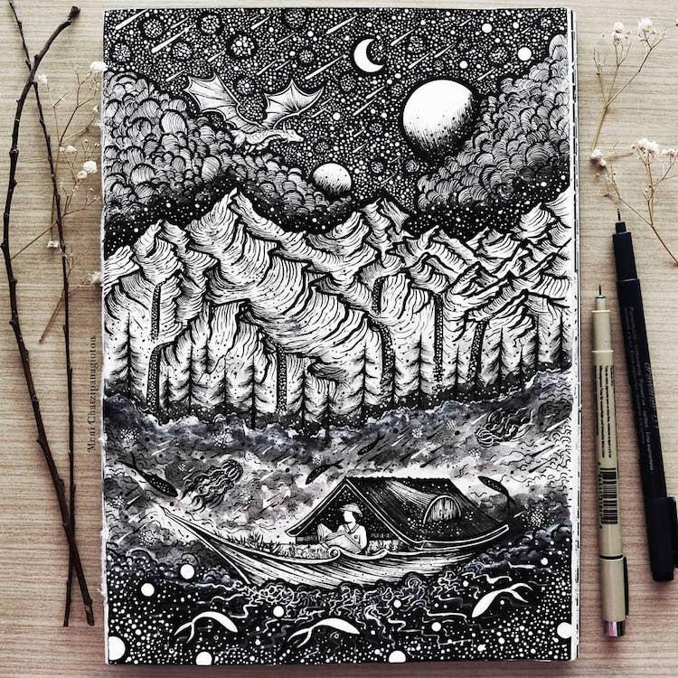 Des illustrations à l'encre en noir et blanc magnifiques 5