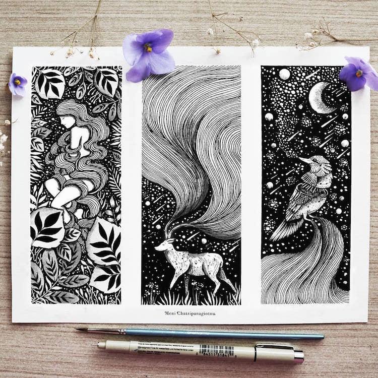 Des illustrations à l'encre en noir et blanc magnifiques 6