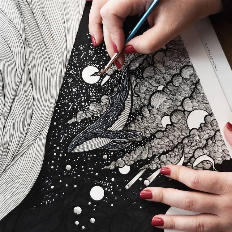 Des illustrations à l'encre en noir et blanc magnifiques 7