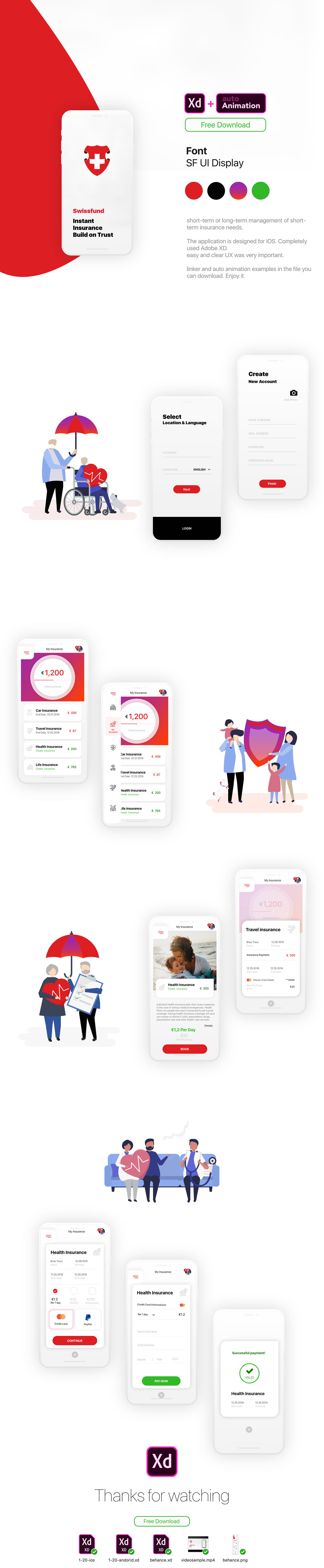Template d'application mobile Adobe XD + animation Gratuit 2