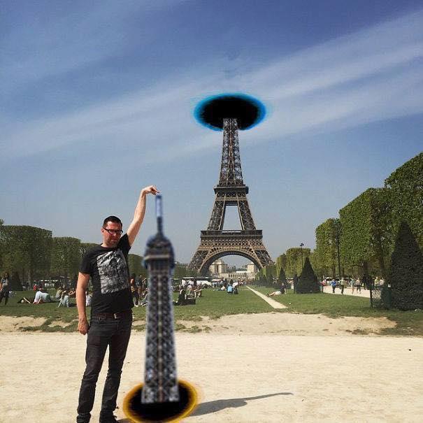 Une photo devient virale et un meme pour toucher la tour Eiffel 6