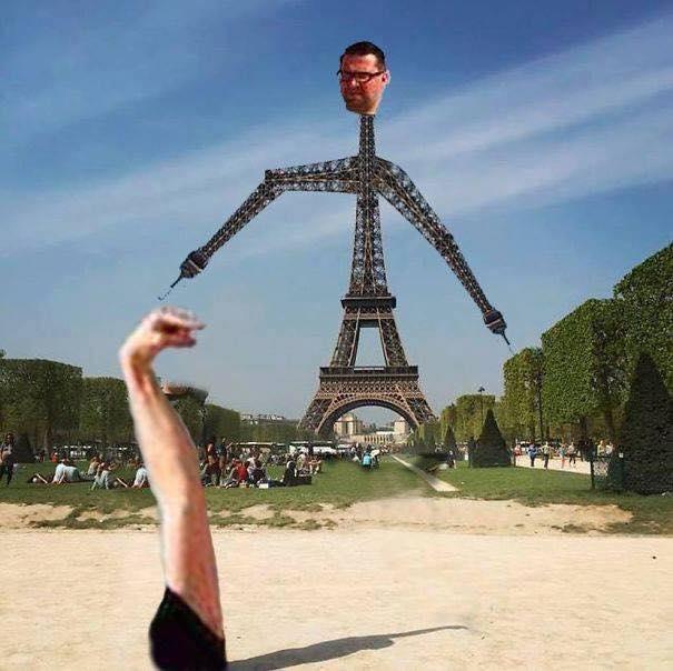 Une photo devient virale et un meme pour toucher la tour Eiffel 8
