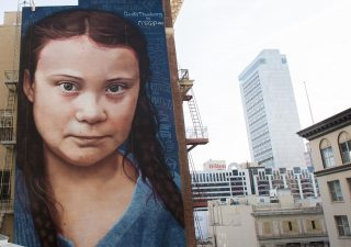StreetArt - Portrait géant de Greta Thunberg 1