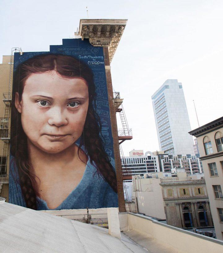 StreetArt - Portrait géant de Greta Thunberg 3