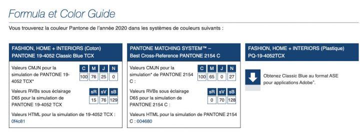 Couleur Pantone 2020 - Classic Blue 19-4052 2