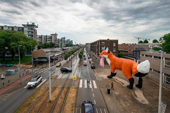 StreetArt - Renard Géant à Rotterdam par Florentijn Hofman 2