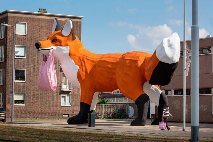 StreetArt - Renard Géant à Rotterdam par Florentijn Hofman 3