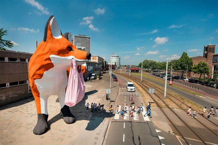 StreetArt - Renard Géant à Rotterdam par Florentijn Hofman 4