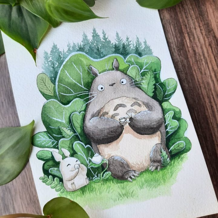 Des superbes peintures illustrant des personnages du Studio Ghibli 2