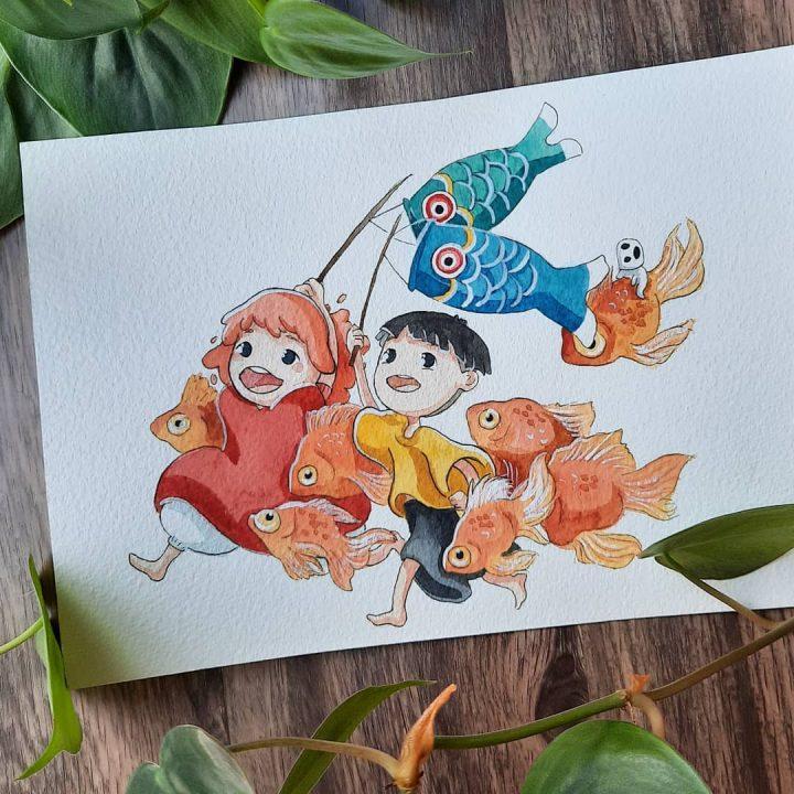 Des superbes peintures illustrant des personnages du Studio Ghibli 3