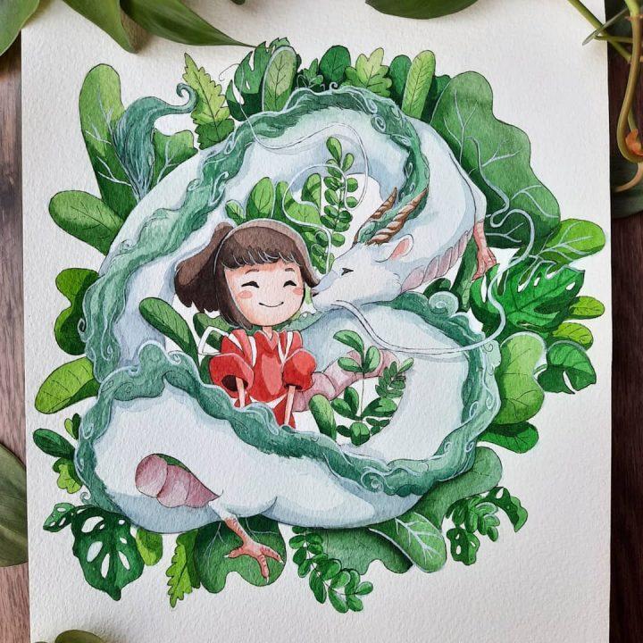 Des superbes peintures illustrant des personnages du Studio Ghibli 10
