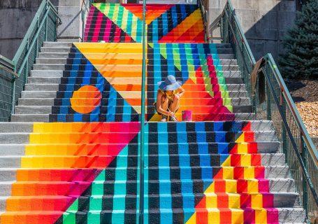 Superbe street art d'escalier à Baltimore 1