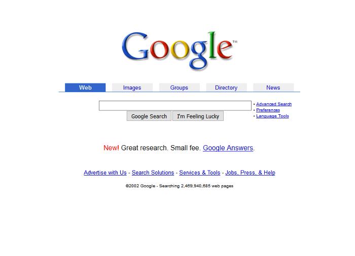 L'historique UX de l'interface de recherche de GOOGLE 5