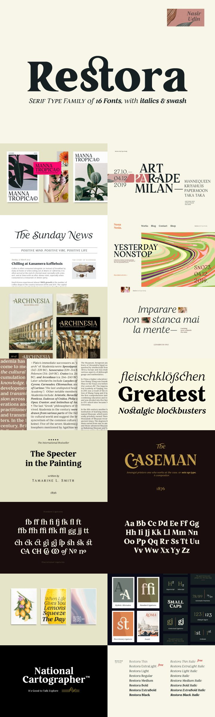RESTORA - Typographie serif gratuite OLD-STYLE 2