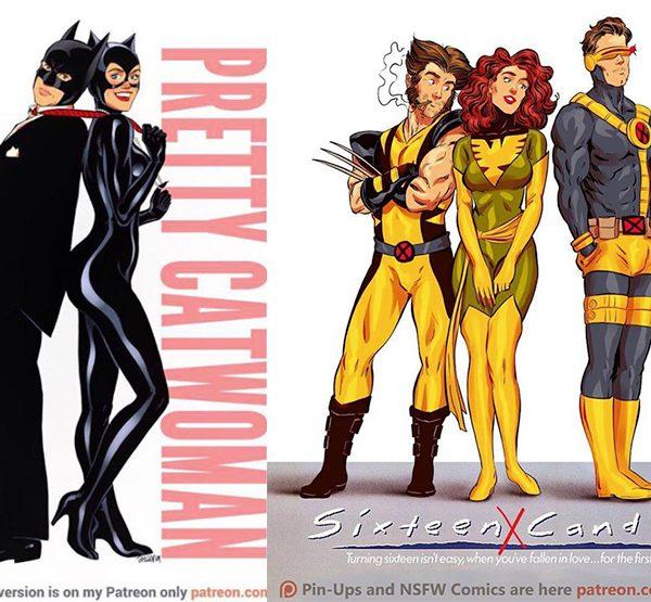 Affiches de films des années 80/90 réinventées avec des super-héros