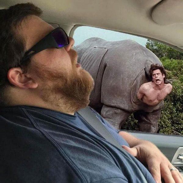 Photomontage : Quand un homme s'endort en voiture, les internautes en profitent