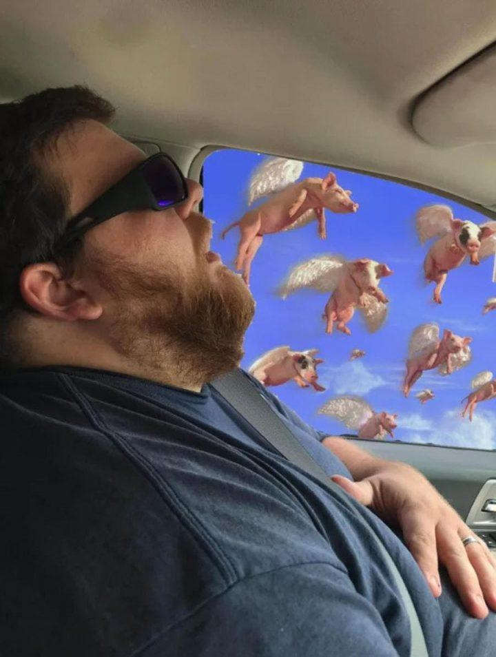 Photomontage : Quand un homme s'endort en voiture, les internautes en profitent 2