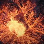 Video d'un drone au dessus d'un volcan en erruption